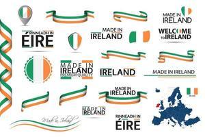 großer Vektorsatz irischer Bänder Symbole Symbole und Flaggen isoliert auf einem weißen Hintergrund gemacht in Irland Premium-Qualität irische nationale Trikolore Satz für Ihre Infografiken und Vorlagen vektor