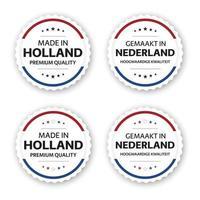 Satz von vier holländischen Etiketten, hergestellt in Holland im holländischen gemaakt in den niederländischen Premiumqualitätsaufklebern und -symbolen mit der einfachen Vektorillustration der Sterne lokalisiert auf weißem Hintergrund vektor