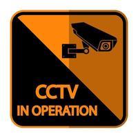 CCTV-Kamera-Etikett schwarz Videoüberwachungszeichen vektor