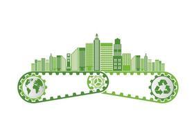 Ökologiesparendes Ausrüstungskonzept und umweltverträgliche Energieentwicklung vektor