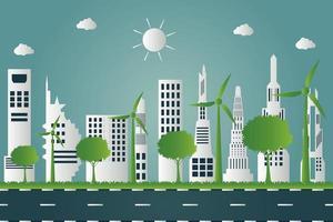 Windkraftanlagen mit Bäumen und sauberer Sonnenenergie mit umweltfreundlichen Konzeptideen auf Stadthintergrund vektor