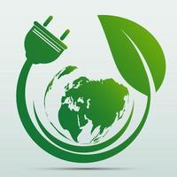 Netzstecker grün Ökologie Emblem oder Logo vektor