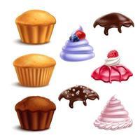 Muffin wesentliche Elemente setzen Vektorillustration vektor