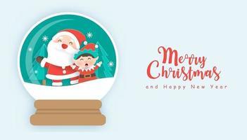 Weihnachtshintergrund mit niedlichem Weihnachtsmann und Elf in Schneekugel vektor