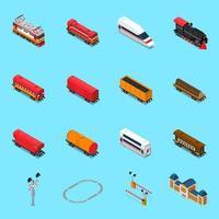 isometrische Elementevektorillustration der Eisenbahnstraße vektor