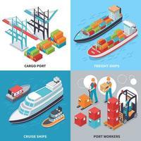 Seehafen 2x2 Design-Konzept Vektor-Illustration vektor