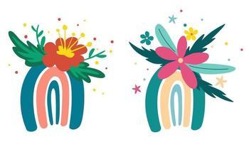 Regenbogen mit Blumen setzen Frühlingsblumen blühende Zweige Vögel und Schmetterlinge gut für Plakatkarte Einladung Flyer Banner Plakat Broschüre Vektor-Illustration im Cartoon-Stil vektor