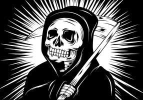skull reaper linocut illustration