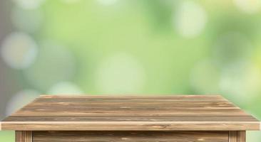 Leerer brauner Holztisch und unscharfer Hintergrund der Zusammenfassung von Restaurantlichtern, die Menschen gerne essen, können für die Montage verwendet werden oder Ihre Produkte anzeigen Vektor eps 10
