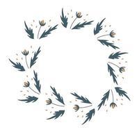 Vektor Blumenkranz mit Blüte und Blätter Blumenrahmen für Gruß Einladung Hochzeitskarten Design isoliert weißen Hintergrund