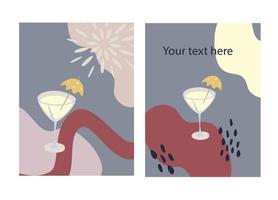 gratulationskort och festinbjudan uppsättning cocktail mall vektor illustration handritad stil