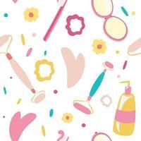Hygieneprodukte und Zubehör Vektor nahtlose Muster Make-up Kosmetik Werkzeuge und Schönheitskosmetik Gouache Gesichtsmassage Creme Zahnbürste Gesichtspflege Hautpflege Massage Gesicht waschen nahtlose Hintergrundkosmetik