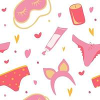 nahtlose Hintergrundkosmetik Make-up Kosmetik Werkzeuge und Schönheitskosmetik Freihand Zeichnung Mode Illustration nahtlose Muster weibliche Unterwäsche Creme Stirnband Kerze vektor