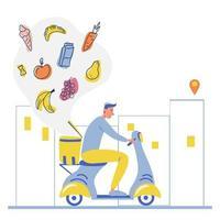 Online-Lebensmittelbestellung und Lebensmittel-Lieferservice Ein Kurier auf einem Moped mit Kofferraumkiste trägt ein Paket Online-Lieferservice-Konzept Online-Auftragsverfolgung Lieferung nach Hause und Büro Vektor-Illustration vektor