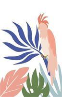 Kakadu Papagei in tropischen Blättern Vektor Papagei in Hand zeichnen Stil isoliert auf weißem Hintergrund