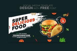 Lebensmittelmenü Banner Social Media Vorlage vektor