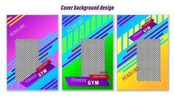 Set Poster Fitness-Studio bunte geometrische Formen Hintergrund vektor