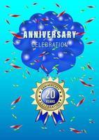 20 Jahre Jubiläumsfeier Ballon und Gold Label vektor