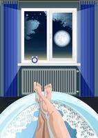 Frauenfüße im Badinnenfenster Nachtkarikatur vektor