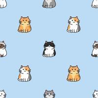 niedliches Katzenkarikatur nahtloses Muster vektor