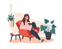 Frau sitzt und ruht auf einem Sessel mit Kaffee vektor