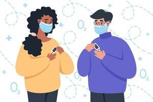 Menschen in medizinischen Masken mit Pulsoximeter vektor