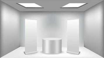 abstrakter minimalistischer weißer und grauer Raumhintergrund mit geometrischen Formen vektor