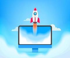 Unternehmensgründungskonzept beginnen Geschäftsvektorillustration mit Rakete und Computer vektor