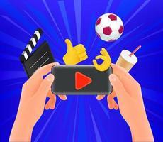 Mann, der Video auf seinem modernen Smartphone ansieht vektor
