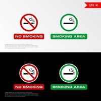 Rauchverbotsschild und Raucherbereichsetiketten vektor
