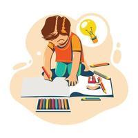 Kinderzeichnung mit Farbstiftkonzept für den Schulanfang vektor