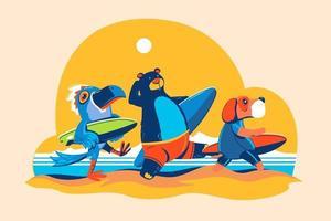 Bärenvogel und Hund gehen am Strandkonzept für die Surfzeit surfen vektor