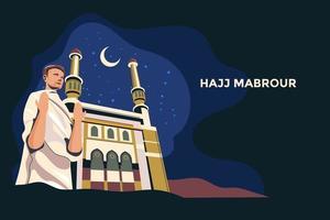 Hadsch Mabrour Hintergrund mit Kaaba Mann Hadsch Charakter zu Gott bei Kaaba beten vektor