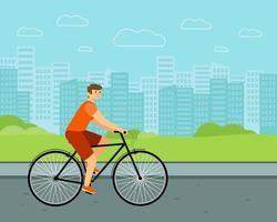 Mann Stadt Fahrrad weißen Fahrer auf Fahrrad flachen Vektor Charakter