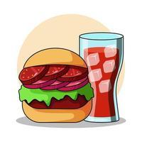 Burger- und Cola-Vektorikonenillustration vektor
