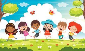 glückliche multiethnische Kinder, die zusammen spielen vektor