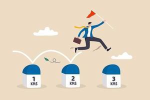 Projektmeilenstein zum Fortschritt in Richtung Geschäftsziel Geschickter Geschäftsmann, der Erfolgsflagge hält, springt auf Meilensteinen, die das Ziel erreichen vektor