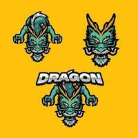 Drachen Maskottchen Logo Set vektor
