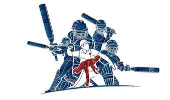 Cricket-Cricket-Spieler Sport-Action vektor