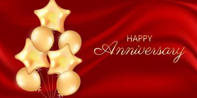 horizontale Vorlage der Jubiläumsfeier für Geburtstags- oder Hochzeitsereignis mit goldenen Luftballons vektor