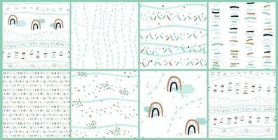 Satz von acht süßen abstrakten nahtlosen Mustern von Wolken Regenbogenlinien Punkten vektor