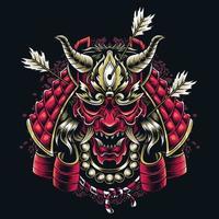 japanische Samurai-Maske, die von Pfeilen japanischer Kultur und Traditionen geschossen wird vektor