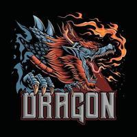 Ein Drache aus der japanischen Kultur, der Feuer abgibt. Dieses Design ist perfekt für die Gestaltung von T-Shirts oder Esport-Logos für Gamer vektor
