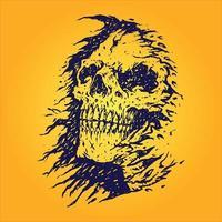 Horror beängstigender Schädel Sensenmann isoliert vektor