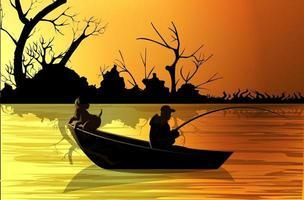 Vektorbild eines Fischers auf einem Boot mit einem Hund vektor
