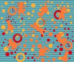 Vektorbild eines Musters mit Silhouetten einer verspielten Katze und eines horizontalen Streifens vektor