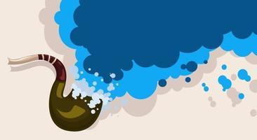 Vektor-Hintergrundbild des Mundstücks, aus dem Rauch das Konzept des verschütteten Meeres und der touristischen Ferien in den exotischen Ländern der Karibik kommt vektor
