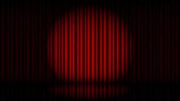 Bühne mit rotem Vorhang und Scheinwerfervektorillustration vektor