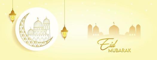 Eid Mubarak feiern Banner Cover Grußkarte Post Urlaub goldene Farbe Design vektor