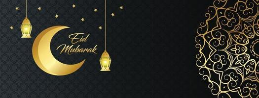 Eid Mubarak Banner Cover Design Post Urlaub goldene Farbe vektor